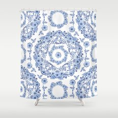Blue Rhapsody on white Shower Curtain
