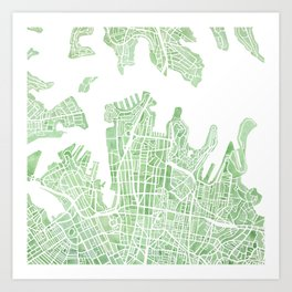 Sydney Australia watercolor city map Art Print