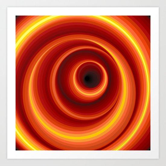 Hypnotic Virtual Orange Vertigo Hole Art Print