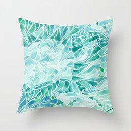 FERNING: Aqua ferns (2015) Throw Pillow