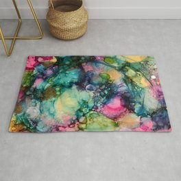 Abstract Painting with Blue Swirls Rug