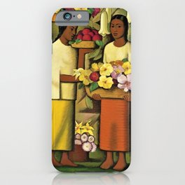 Mujeres con flores (Woman selling Zinnias, Lilies, Angels Trumpet & Begonias) by Alfredo Martinez iPhone Case