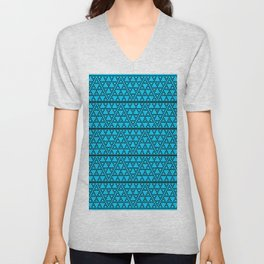 Triangles in triangles on Blue Unisex V-Neck