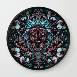 Lion and flowers Wall Clock
