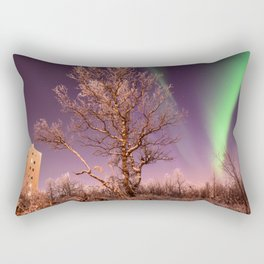 Green northern lights with tree in the middle over the Kiruna town in Sweden. Rectangular Pillow