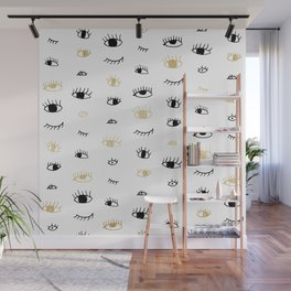 Funny fashion gold and black cute eyes pattern Wall Mural