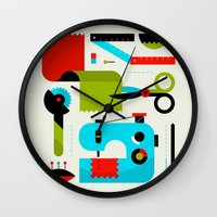 sewing Wall Clocks featuring Sewing Kit by koivo
