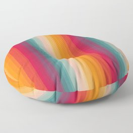 Retro Rainbow Striped Pattern Floor Pillow