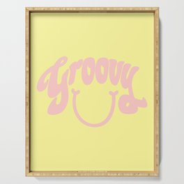 Groovy Smile // Fun Retro 70s Hippie Vibes Lemonade Yellow Grapefruit Pink Lettering Typography Art Serving Tray