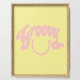 Groovy Smile // Fun Retro 70s Hippie Vibes Lemonade Yellow Grapefruit Pink Lettering Typography Art Serving Tray