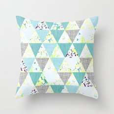 PASTEL NEON GEO FLORALS IN MINT Throw Pillow