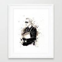 karl lagerfeld Framed Art Prints featuring Karl  by Sasha Spring Illustration