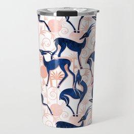 Deco Gazelles Garden // white background navy animals and rose metal textured decorative elements Travel Mug