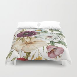 Colorful Wildflower Bouquet on White Duvet Cover