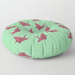 PAPER CRANES RASPBERRY MINT Floor Pillow
