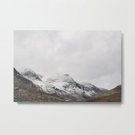 High Stile peak covered in snow. Buttermere, Cumbria, UK. Metal Print