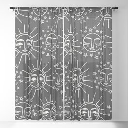 Sun and Moon Pattern Sheer Curtain