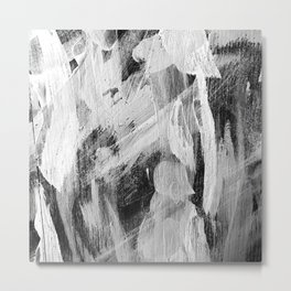 Abstract Painting in Black, Gray and White Metal Print