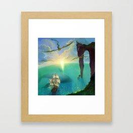 where golden dragons live Framed Art Print