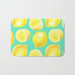 Watercolor lemons pattern Bath Mat