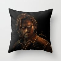 sam winchester Throw Pillows featuring Sam Winchester by Sarah Sangelus