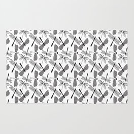 Dragonfly black and white Rug