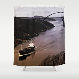 Ship sailing Ringdalfjord between Norway and Sweden I Shower Curtain