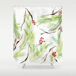 Winter Watercolor Branches Shower Curtain