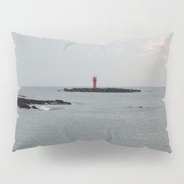 The lighthouse and sky in the early morning on a cloudy day in Gujwa, Jeju island in Korea Pillow Sham