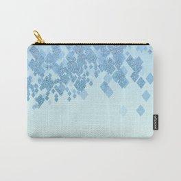 Light Aqua Blue Gradient Faux Glitter Diamonds Carry-All Pouch