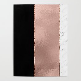 Rose metallic striping - marble and onyx Poster