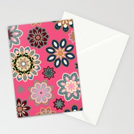 Flower retro pattern in vector. Blue gray flowers on pink background. Stationery Cards