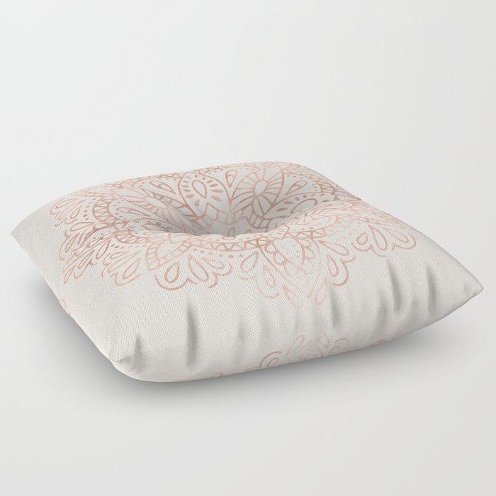 Mandala Rose Gold Pink Shimmer on Blush Pink Floor Pillow by ...