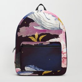 Beautiful Space Whale Galaxy Floral Pink Flowers Gold Dust Nebula Magical Fantasy Humpback Whale Backpack