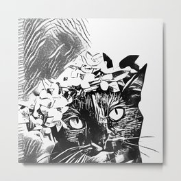 Black Cat InkWork Metal Print
