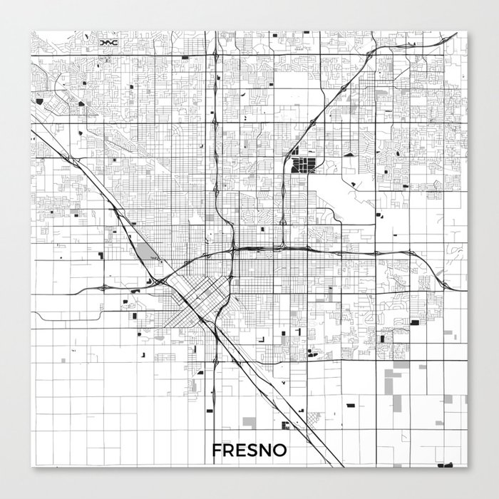Fresno Map Gray Canvas Print