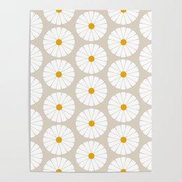 Minimal Botanical Pattern - Daisies Poster