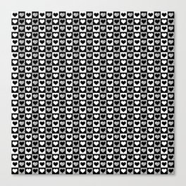 Black and White Hearts Check Pattern Canvas Print