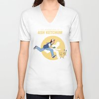 tintin V-neck T-shirts featuring THE ADVENTURES OF ASH KETCHUM by Akiwa