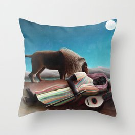 Henri Rousseau The Sleeping Gypsy Throw Pillow
