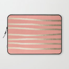 Simply Drawn Stripes in White Gold Sands and Salmon Pink Laptop Sleeve