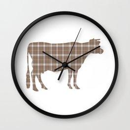 Cow: Brown Plaid Wall Clock