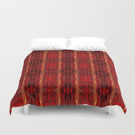 Red Gold, Old Oriental Pattern Duvet Cover