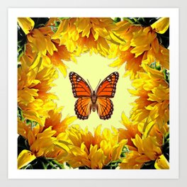 Monarch Butterfly Creany Yellow Sunflower Circle Art Print
