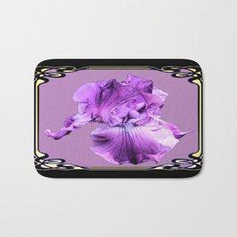 Lilac Color Purple Iris  Black Art Noveau Design  Bath Mat