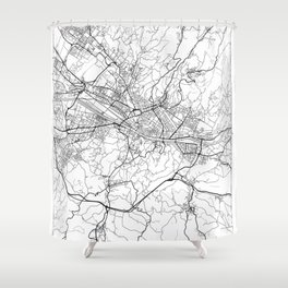 Florence Map White Shower Curtain