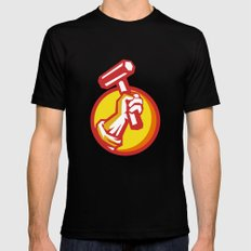 Union Worker Hand Holding Hammer Circle Retro Black LARGE Mens Fitted Tee