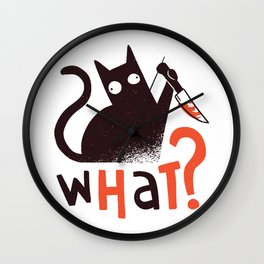 Murder Cat Funny  Wall Clock