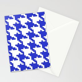 Retro Blue Shapes Background Pattern Stationery Cards
