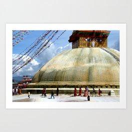 Circumambulating the Stupa Boudha Art Print